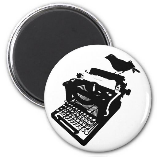 Bird on a Typewriter Magnet