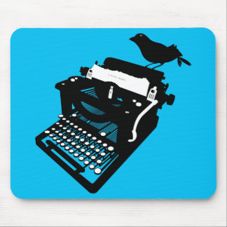 Bird on a Typewriter Mousepad (blue)