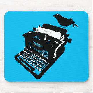 Bird on a Typewriter Mousepad (blue)