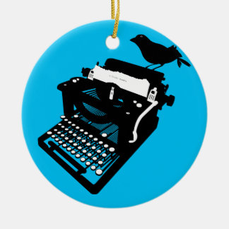 Bird on a Typewriter Ornament (blue background)