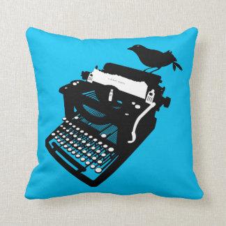 Bird on a Typewriter Pillow (blue background)