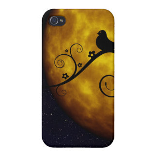 Bird on a Vine Silhouette with Moon and Starry Sky Cover For iPhone 4