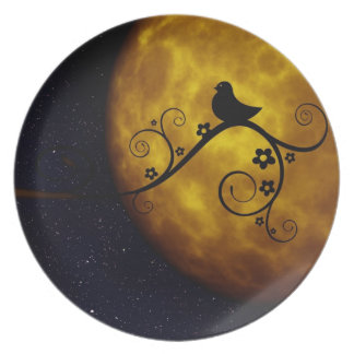 Bird on a Vine Silhouette with Moon and Starry Sky Plates