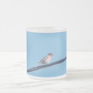 Bird on a wire frosted glass coffee mug
