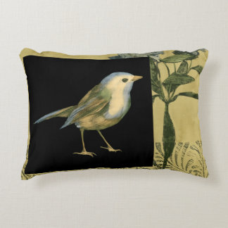 Bird on Black and Vintage Background Decorative Pillow