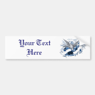 Bird on Bouquet (Blue) Bumper Sticker