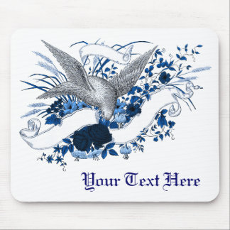 Bird on Bouquet (Blue) Mouse Pad