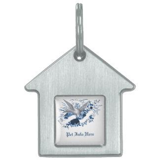 Bird on Bouquet (Blue) Pet Tag