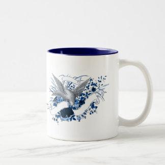 Bird on Bouquet (Blue) Two-Tone Coffee Mug