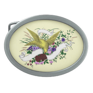 Bird on Bouquet (Full Colour) Belt Buckle
