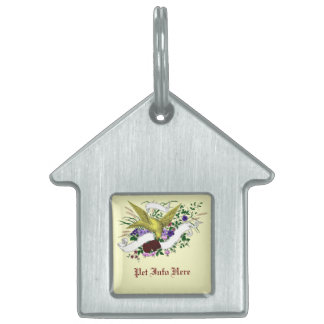 Bird on Bouquet (Full Colour) Pet Name Tag