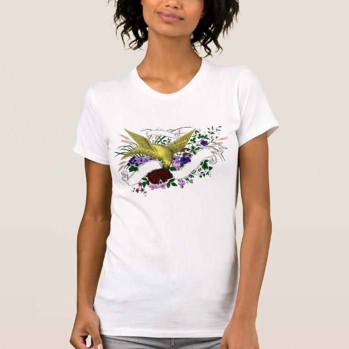 Bird on Bouquet (Full Colour) T-Shirt