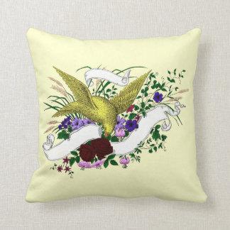 Bird on Bouquet (Full Colour) Throw Pillow