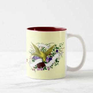 Bird on Bouquet (Full Colour) Two-Tone Coffee Mug