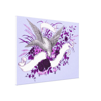Bird on Bouquet (Purple) Canvas Print