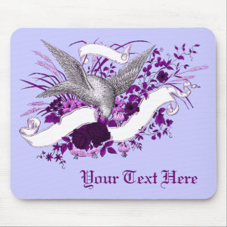 Bird on Bouquet (Purple) Mouse Pad