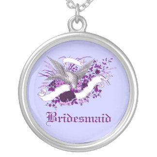 Bird on Bouquet Purple Necklaces