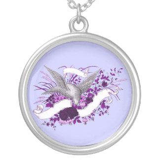 Bird on Bouquet Purple Pendants