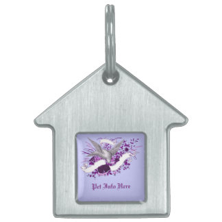 Bird on Bouquet (Purple) Pet Name Tag