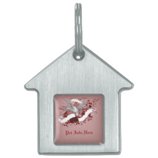 Bird on Bouquet (Red) Pet Tag