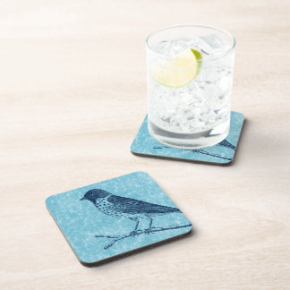 Bird on Branch Blue Beverage Coaster