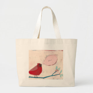 bird on branch card large tote bag