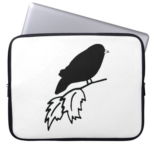 Bird On Branch Silhouette Computer Sleeves
