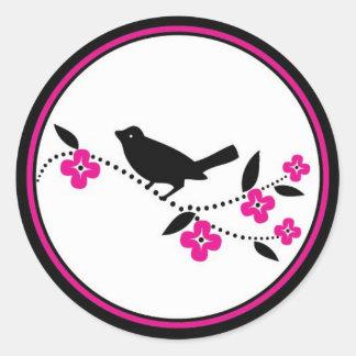 Bird on Cherry Blossom Branch Classic Round Sticker