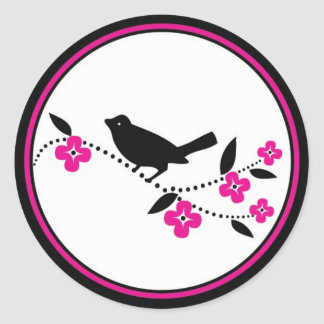 Bird on Cherry Blossom Branch Stickers