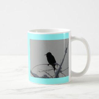 bird on cold day coffee mug