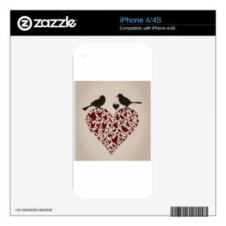 Bird on heart iPhone 4 skin