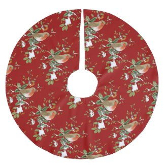 Bird on Holly Christmas Tree Skirt