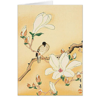 Bird on Magnolia Tree Japanese Woodblock Print Card