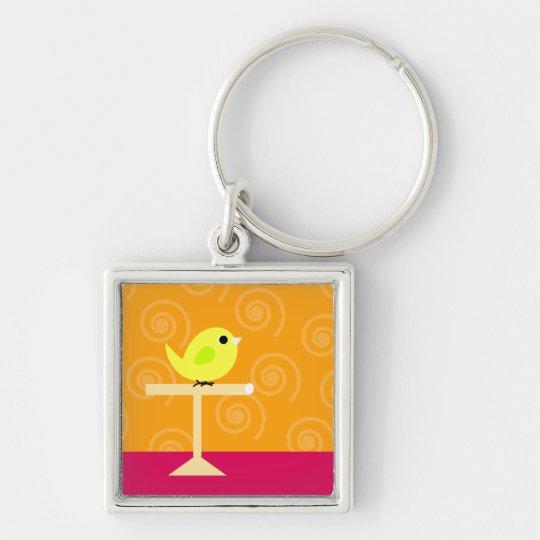 Bird on Perch Keychain
