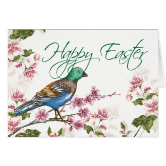 Bird on Spring Branches Happy Easter Greeting Card