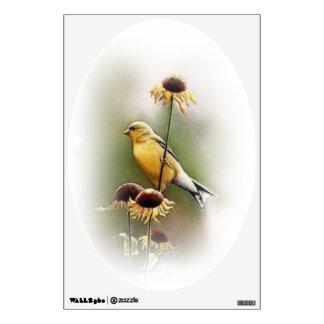 Bird on sunflowers wall decal