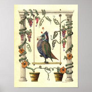Bird on Swing 1974 - Art Print