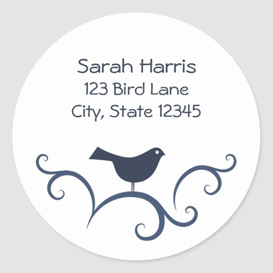 Bird on swirls address label classic round sticker