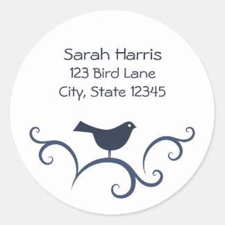 Bird on swirls address label stickers