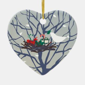 Bird on the nest at Christmas Ceramic Ornament