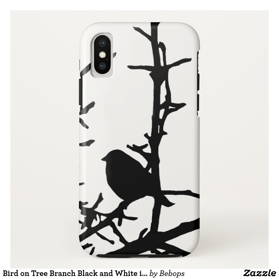 Bird on Tree Branch Black and White iPhone X Case