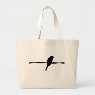 Bird on Wire Silhouette Photography Large Tote Bag