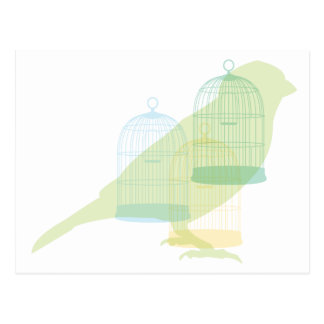 Bird out of the cage postcard