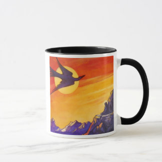Bird out of time and space mug