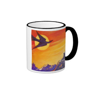 Bird out of time and space ringer coffee mug
