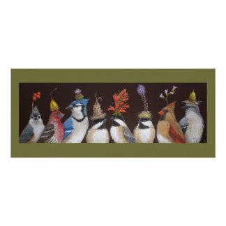 Bird party on #10 flat card