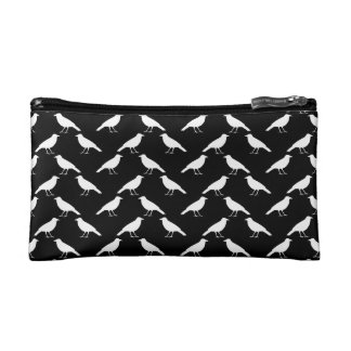 Bird Pattern. Crows in Black and White. Cosmetic Bag