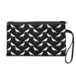 Bird Pattern. Crows in Black and White. Wristlet Purse