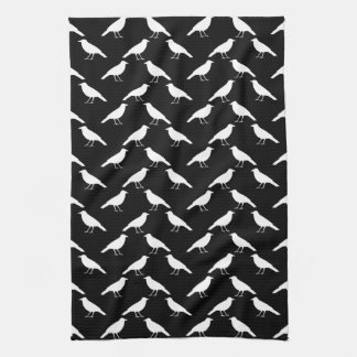 Bird Pattern. Crows in Black and White. Hand Towel