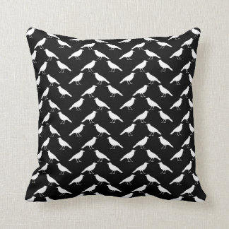 Bird Pattern. Crows in Black and White. Throw Pillow